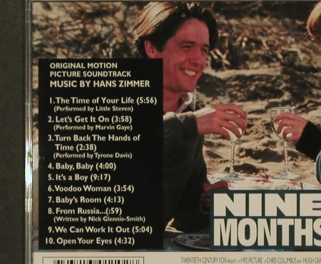 Nine Months: Orign.MotionPicture,by Hans Zimmer, Milan(), F, 1995 - CD - 95362 - 10,00 Euro
