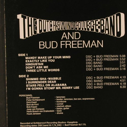 Dutch Swing College Band/B.Freeman: Bud And His Buddies, m-/vg+, DSC Production(PA 1016), NL, 1975 - LP - C9390 - 5,00 Euro