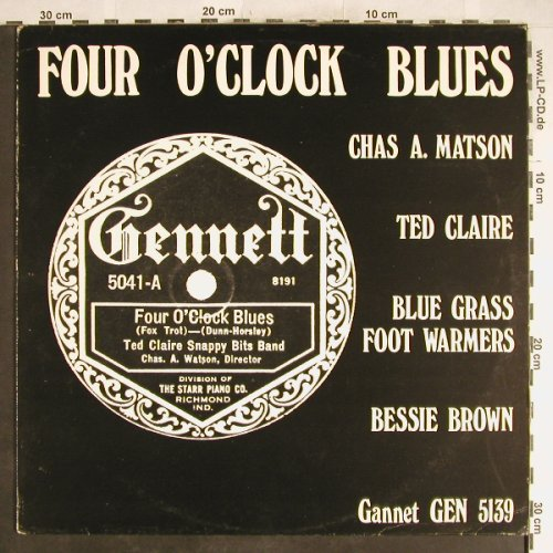 V.A.Four O'Clock Blues: Chas A.Matson's Cr.S...Bessie Brown, Gannet(GEN 5139), ,vg+/vg+,  - LP - H6585 - 5,00 Euro