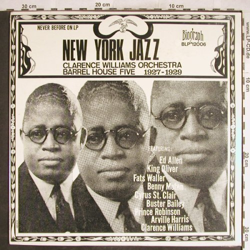 Williams,Clarence  Orchestra: New York Jazz 1927-29, FS-New, Biograph(BLP-12006), US,  - LP - H7029 - 7,50 Euro