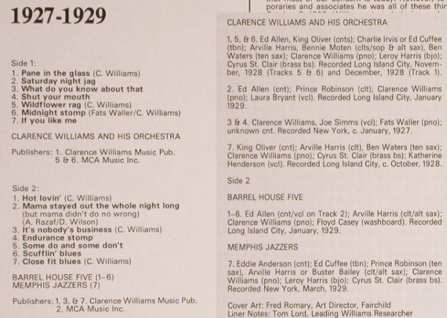Williams,Clarence  Orchestra: New York Jazz 1927-1929, Biograph(6370 908), UK - Mono,  - LP - H7030 - 5,00 Euro
