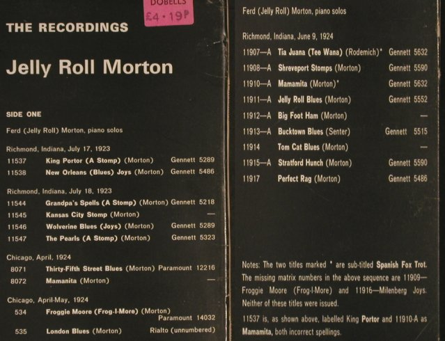 Morton,Jelly Roll: presenting 19 rare rec.o piano solo, Fountain(FJ 104), UK, Foc,  - LP - H7450 - 6,00 Euro