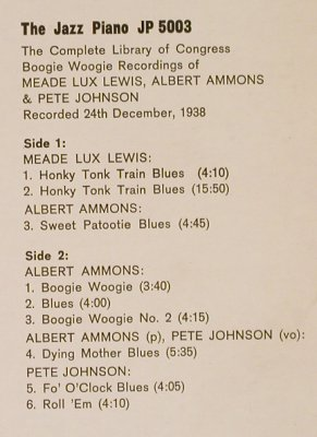 Ammons,Albert/P.Johnson/M.Lux Lewis: The Compl.Library o.Congress.., Piano Jazz(1938)(JP 5003), m-/vg+,  - LP - H8580 - 5,00 Euro