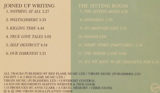 Clark,Anne: Joined Up Writing/The Sitting Room, Virgin(), A, 1990 - CD - 50321 - 5,00 Euro