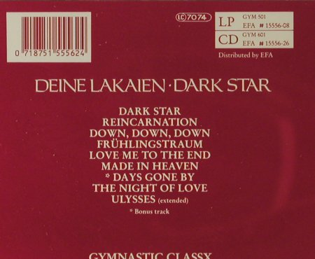 Deine Lakaien: Dark Star, Gymnastic(GYM 601), D, 1991 - CD - 51319 - 10,00 Euro