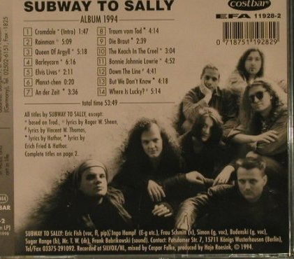 Subway To Sally: Album 1994, Costbar(CLCD-6305), NL, 1994 - CD - 57065 - 10,00 Euro