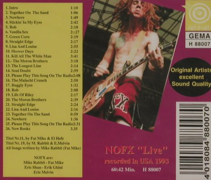 NOFX: Bob, Live USA 1993, FS-New, Hot Shot(H 88007), ,  - CD - 92223 - 10,00 Euro