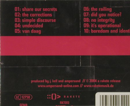 Ampersand: Boredom and Identity, FS-New, Rakete(RKT013), D, 2004 - CD - 93151 - 10,00 Euro