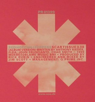Red Hot Chili Peppers: Scartissue, 1 Tr. Promo, Warner(PR 01399), EU, 1999 - CD5inch - 96652 - 5,00 Euro