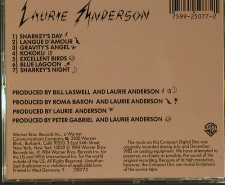 Anderson,Laurie: Mister Heartbreak, WB(9 25077-2), D, 1984 - CD - 99177 - 10,00 Euro