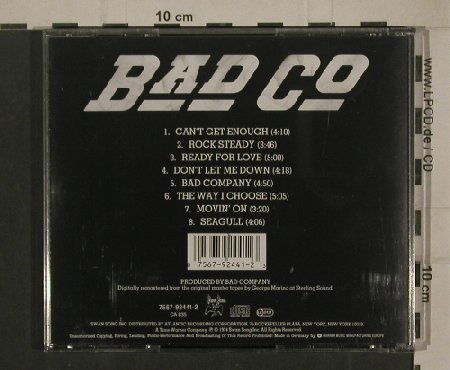 Bad Company: Same, Digital Remastered, 8Tr., Swan Song(7567-92441-2), D, 1974 - CD - 80393 - 7,50 Euro
