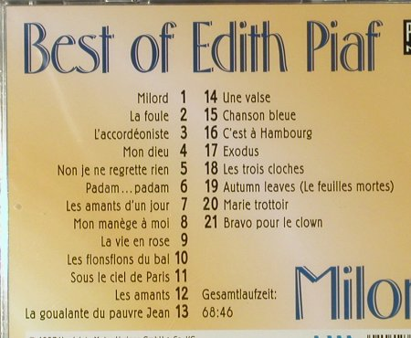 Piaf,Edith: Milord - Best of Edit Piaf, FS-New, Zounds Gold(), D, 1997 - CD - 94551 - 12,50 Euro