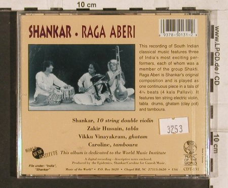 Shankar: Raga Aberi(Tabla,Ghatam,10string..), Musik o. W(CDT-131), CDN,FS-New, 1995 - CD - 82150 - 7,50 Euro