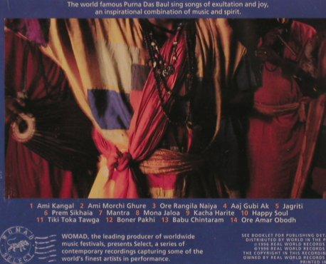 Purna Das Baul & Bapi: Songs Of Love And Ecstasy, Real World(WScd 006), UK, 1996 - CD - 84029 - 7,50 Euro