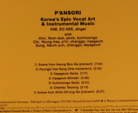 P'Ansori: Korea's Epic Vocal Art & Instr.Musi, Nonesuch(972 049-2), D, 1988 - CD - 94909 - 10,00 Euro