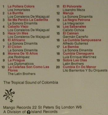 V.A.Tropical Sound Of Colombia: 20 Tr., Mango(846 756-2), EU, 1990 - CD - 56305 - 7,50 Euro