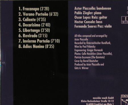 Piazzolla,Astor: The Vienna Concert(84), Messidor(15922-2), D, 1991 - CD - 93257 - 15,00 Euro