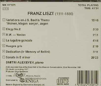 Liszt,Franz: Dmitri Alexeyev-Variations on Bach', Kniga(MK 417071), UK, 1992 - CD - 81466 - 5,00 Euro