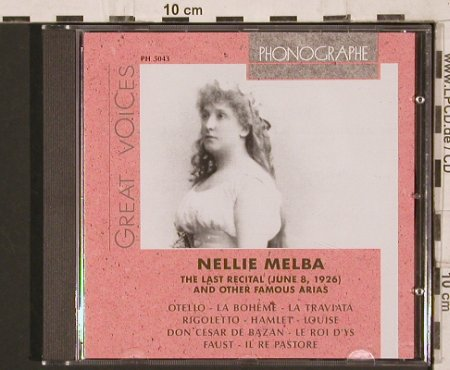 Melba,Nellie: Great Voices-Last Recital 1926, Cedar(PH 5043), I, 1995 - CD - 81774 - 10,00 Euro