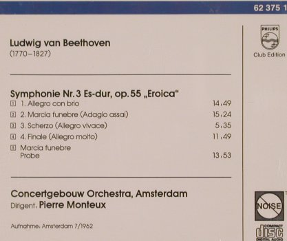 Monteux,Pierre: Beethoven Symphonie Nr.3,Club Ed., Philips(62 375 1), D,  - CD - 81784 - 10,00 Euro