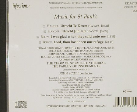V.A.Music For St.Paul's: Händel, Blow, Boyce, Hyperion(CDA 67009), UK, 1997 - CD - 91004 - 10,00 Euro