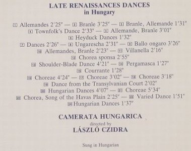 V.A.Late Renaissance Dances: in Hungary, White Label(HRC 067), J, 1987 - CD - 91093 - 10,00 Euro