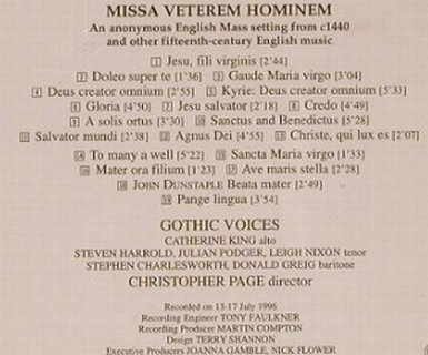 V.A.Missa Veterem Hominem: Anonymous Engl. Mass (1440), Hyperion(), UK, 1996 - CD - 91363 - 10,00 Euro