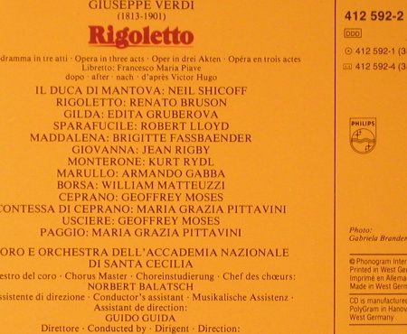 Verdi,Guiseppe: Rigoletto,Box,Bruson,Edita,Shicoff, Philips(412 592-2), D, 1985 - 2CD - 93643 - 15,00 Euro