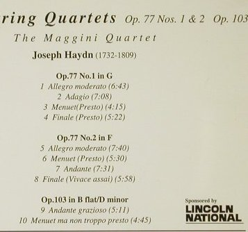 Maggini Quartet: Haydn String Q., Op.77,1+2,103, Claudio(), UK, 1996 - CD - 93979 - 10,00 Euro