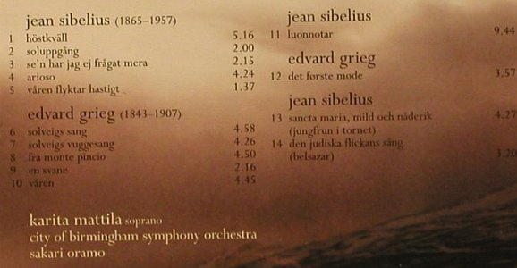 Mattila,Karita: Grieg and Sibelius Songs, Warner(), EU, 2004 - CD - 97875 - 7,50 Euro
