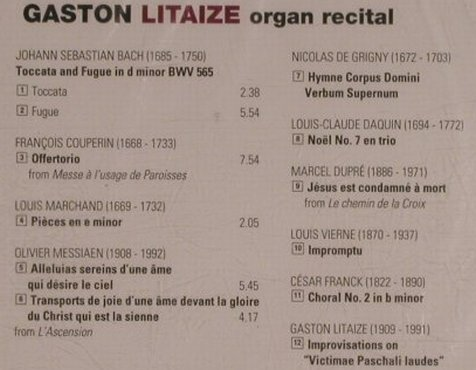 Litaize,Gaston: Organ Recital, FS-New, Aura Music(AUR 154-2), I, 2000 - CD - 99940 - 5,00 Euro