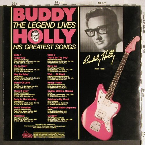 Holly,Buddy: The Legend Lives, Dino(1551), D, 1987 - LP - H7118 - 5,00 Euro