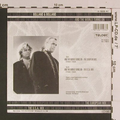 Bolland & Bolland: and the world turn on,euro/us mix, Teldec(6.15036 AC), D, 1988 - 7inch - S8056 - 2,50 Euro