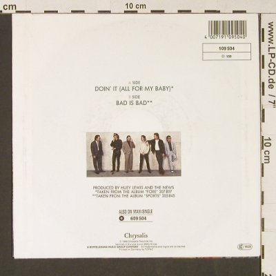 Lewis,Huey & The News: Doing It All For My Baby/Bad Is Bad, Chrysalis(109 504), D, 1986 - 7inch - S9128 - 3,00 Euro