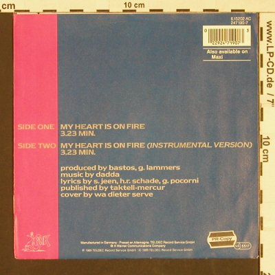Leigh,Lyane: My Heart is on Fire*2, Pink(6.15202 AC), D, 1989 - 7inch - S9566 - 2,50 Euro