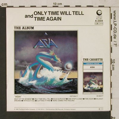 Asia: Only Time Will Tell/Time Again, Geffen(A-2594), NL,m /vg+, 1982 - 7inch - T1629 - 2,50 Euro