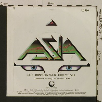 Asia: Don't Cry / True Colors, Geffen(A 3580), UK, 1983 - 7inch - T2093 - 2,00 Euro