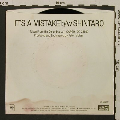 Men At Work: It's A Mistake/Shintaro,Promo-stol, Columbia(38-03959), US,m-/vg+, 1983 - 7inch - T2126 - 1,00 Euro