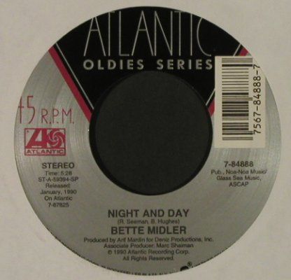 Midler,Bette: Night And Day / From A Distance, Ri, Atlantic, LC(7-84888), US, 1990 - 7inch - T2827 - 2,00 Euro
