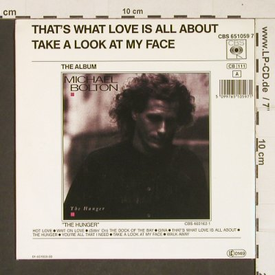 Bolton,Michael: That's What Love, CBS(6510597), NL, 1987 - 7inch - T320 - 2,00 Euro