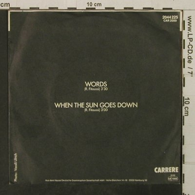F-R David: Words / Where The Sun Goes Down, Carrere(2044 225), D, 1982 - 7inch - T3869 - 1,50 Euro