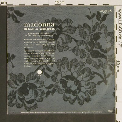 Madonna: Like A Virgin / Stay, Sire(929 210-7), D, 1984 - 7inch - T471 - 3,00 Euro