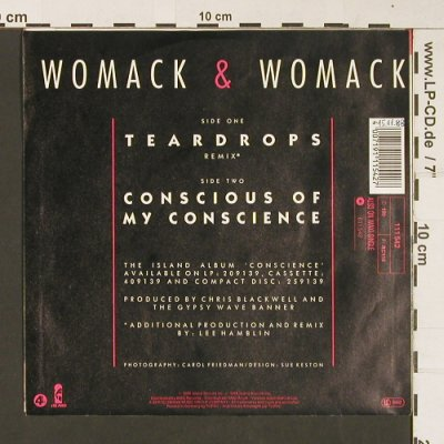 Womack & Womack: Teardrops / Conscious Of My Conscio, Island(111 542), D, 1988 - 7inch - S8974 - 2,50 Euro