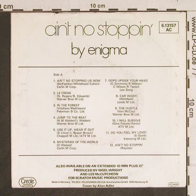 Enigma: Ain't no Stoppin'  by, m-/vg+, Creole(6.13157 AC), D, 1981 - 7inch - T4336 - 2,50 Euro