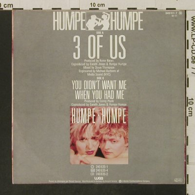 Humpe . Humpe: 3 Of Us / You Didn't Want Me..., WEA(249 111-7), D, 1985 - 7inch - T3245 - 3,00 Euro