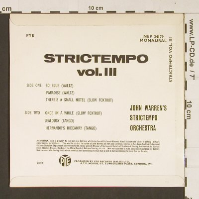 Warren,John and his Strictempo Orch: Strictempo Vol.3, 6Tr., vg+/m-, PYE(NEP24179), UK,  - EP - S8910 - 4,00 Euro
