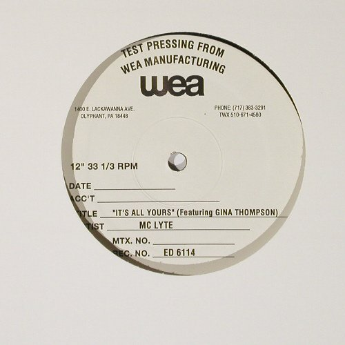 MC Lyte: It's All Yours*2,Testpressung, WEA(), US,  - 12inch - A4401 - 4,00 Euro