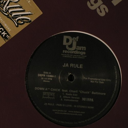 Ja Rule: Down A**Chick*3+3,Flc, Def Jam(DEFR 15494-1), US, 01 - 12inch - B8757 - 3,00 Euro