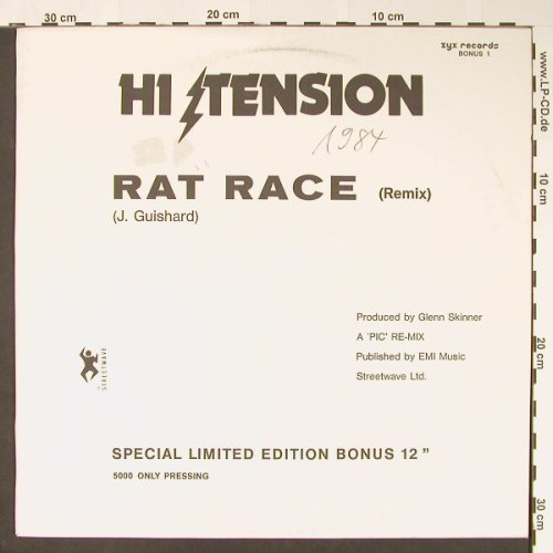 Hi Tension: Rat Race(re)+sp.lim.ed., m-/vg+, ZYX(Bonus 1), D-one side, 1984 - 12inch - C8573 - 5,00 Euro