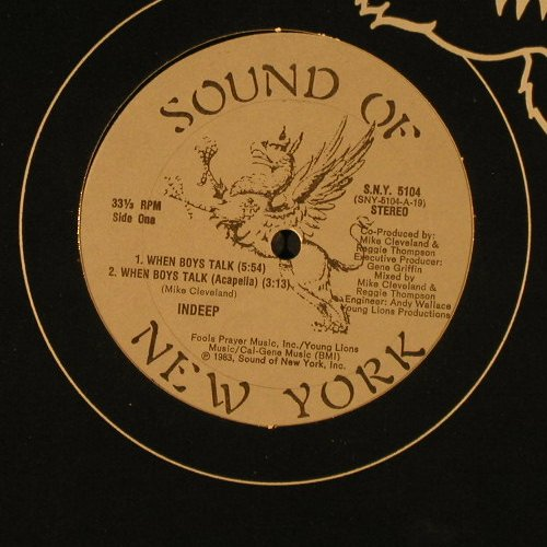 Indeep: When Boys Talk*3,Flc, Sound Of NY(S.N.Y.5104), US, 1983 - 12inch - C8940 - 3,00 Euro